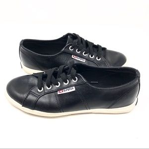 Superga | Genuine Leather Black Sneaker